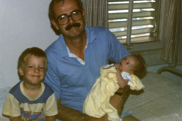 Roger Allen with sons 1980s.